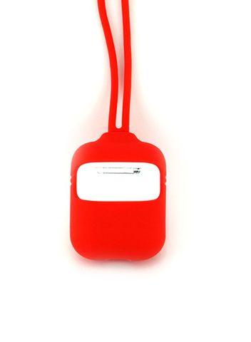 Чехол для Airpods 2 Силиконовый со шнурком (Красный)