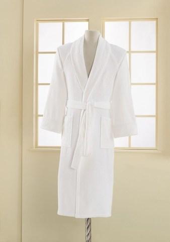 Мужской махровый банный халат DELUXE белый