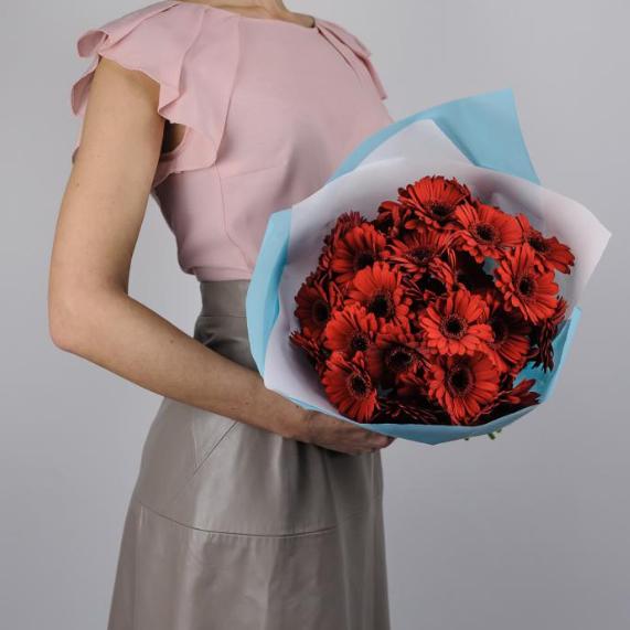 Купить большой букет красные герберы гермини ромашки Пермь