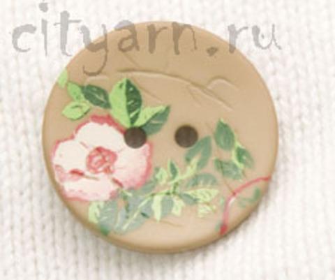 Пуговица с цветком шиповника, светло-коричневая, 23 мм