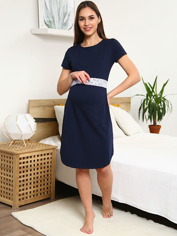 Мамаландия. Сорочка для беременных и кормящих с горизонтальным секретом и кружевом, темно-синий