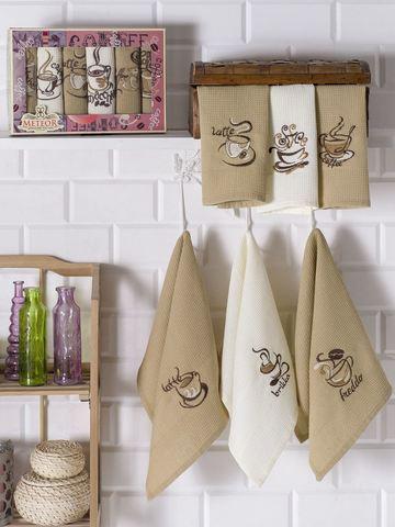 Салфетки METEOR вафельные  в коробке  (30х50) 6 шт. ТОРШОН цвет коричневый