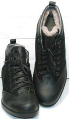 Модные зимние мужские ботинки на натуральном меху Luciano Bellini 6057-58K Black Leathers & Nubuk.