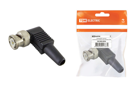 Штекер BNC под винт с колпачком угловой, инд. упаковка TDM
