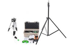 Комплектация №1 Лазерный уровень 4D HIBIRU PROFFMASTER  QP40 зеленый луч(нижний и верхний горизонт) + тренога 3 м + лазерный дальномер LOMVUM LV55 (дистанция до 40 м)