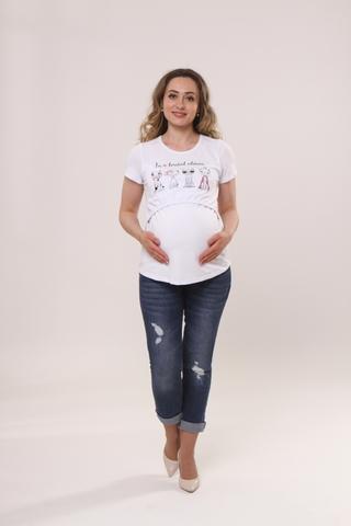 Футболка для беременных и кормящих 10590 белый/принт кошки