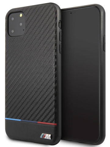 BMW / чехол для iPhone 11 Pro Max | M-Collection Carbon inspiration Hard PU Tricolor Black