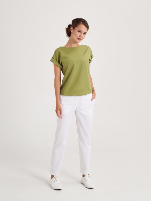 Блуза с коротким рукавом фисташкового цвета