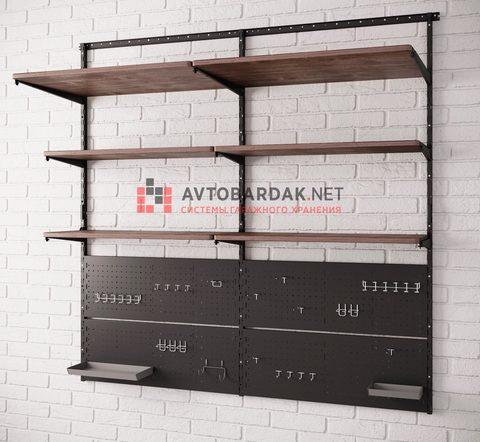 Комплект лофт №3: деревянные полки + перфопанели для инструментов