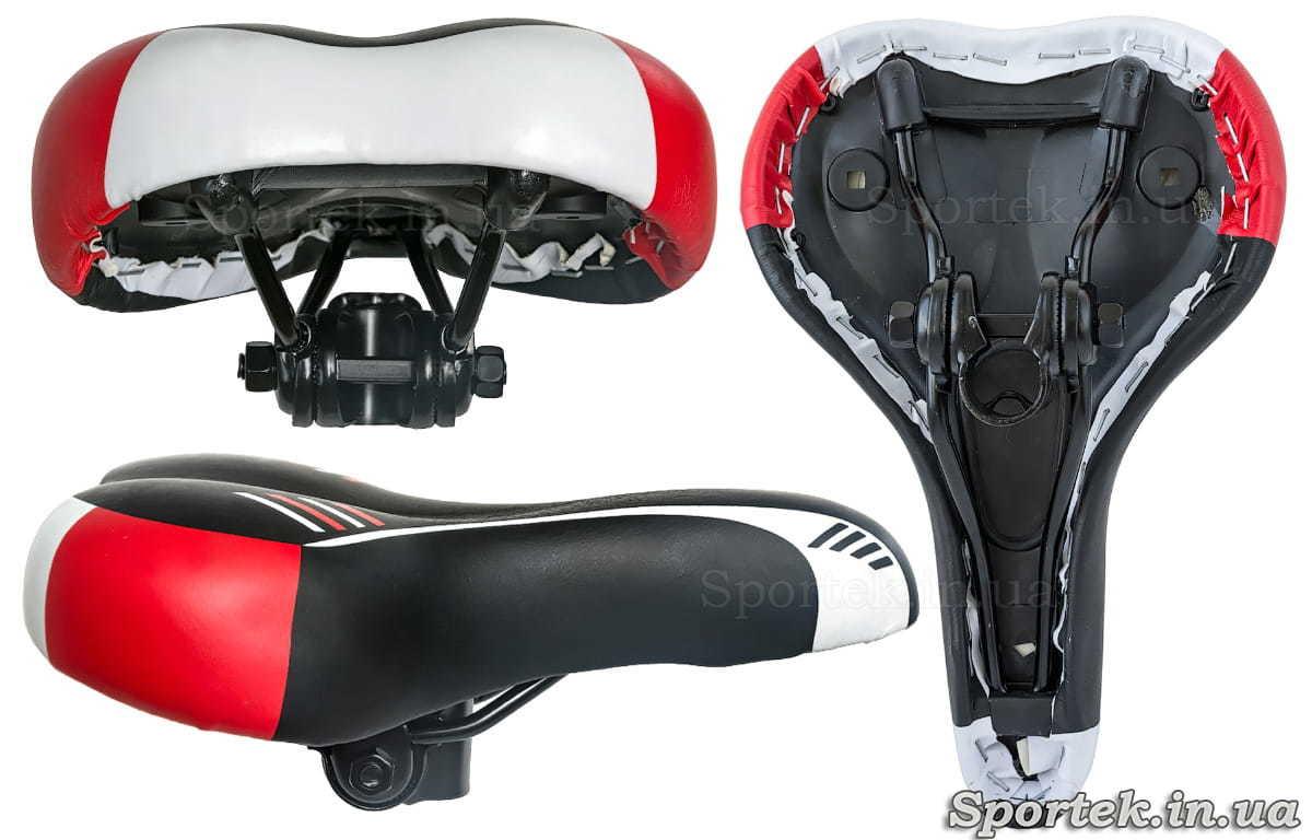 Види велосипедного прогулянкового вузького сідла (чорно-червоно-біле)