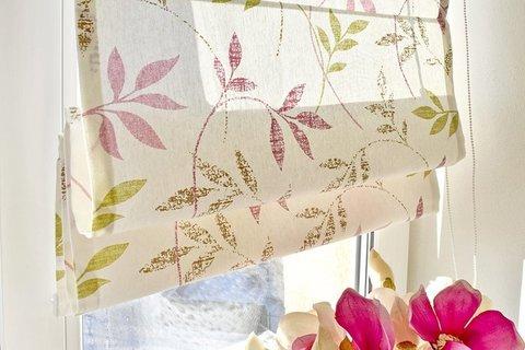 Римская штора Флора розово-салатовый