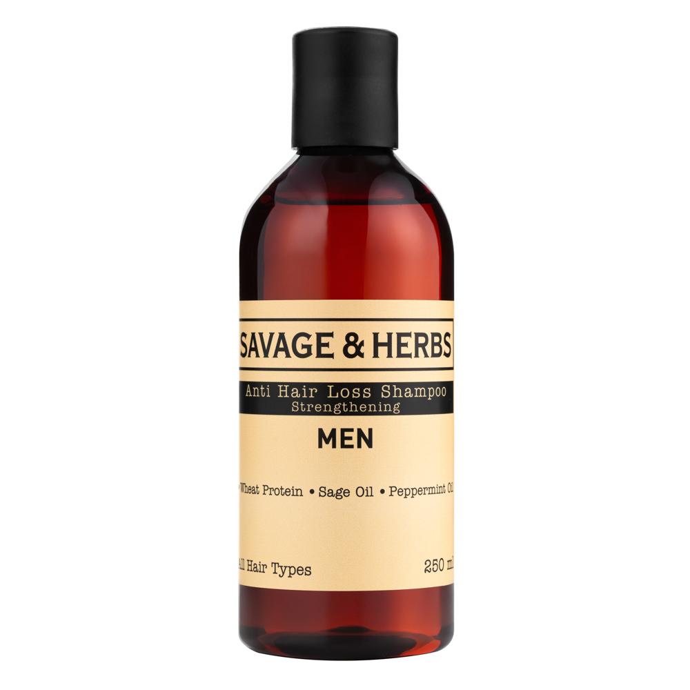 Для мужчин Мужской шампунь против выпадения волос с провитаминами В3,B5. Веганский травяной шампунь с органическими маслами SH0005_front.jpg