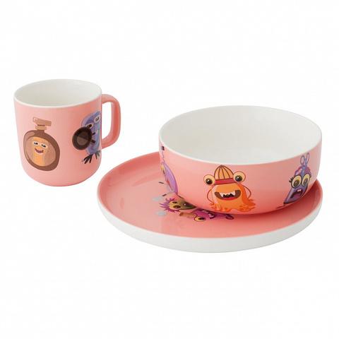 Набор столовый из фарфора розовый