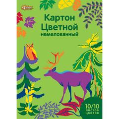 Картон цветной №1 School Живая природа (А4, 10 листов, 10 цветов, немелованный)