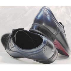 Кожаные туфли мужские классика Ikoc 3805-4 Ash Blue Leather.