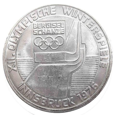 100 шиллингов. XII зимние Олимпийские игры в Инсбруке - Трамплин. Австрия. 1976 год. Серебро. AU