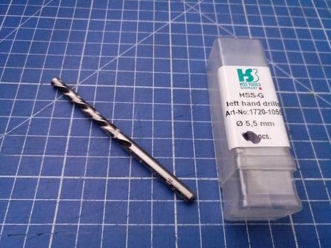 Сверло по металлу ц/x 5,5x93/52мм (LH-Левостороннее) DIN338 h8 5xD HSS-G 135° HSS-Tools 1720-1055
