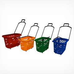 Корзина тележка пластиковая 4 колеса BASKET-38 (TECHNO) цвет синий, 38 л