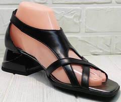 Женские летние босоножки сандалии с ремешками Evromoda 166606 Black Leather.