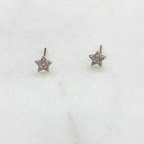 Серьги-гвоздики Звездочки с цирконами ш925 (серебристый)