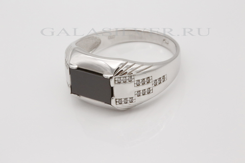 Кольцо с ониксом и фианитом из серебра 925