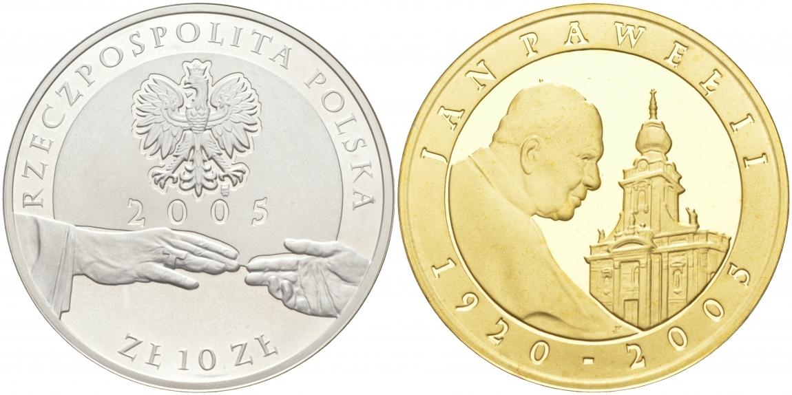 10 злотых 2005 год, Польша.Папа Иоанн Павел II. Личности. Позолота. Серебро. PROOF