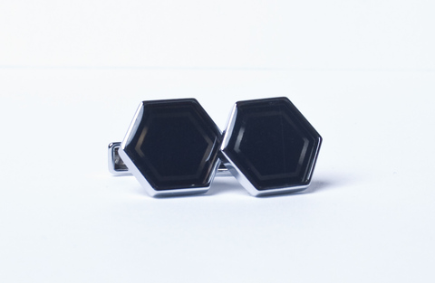 Запонки La madre белого металла шестиугольные черные