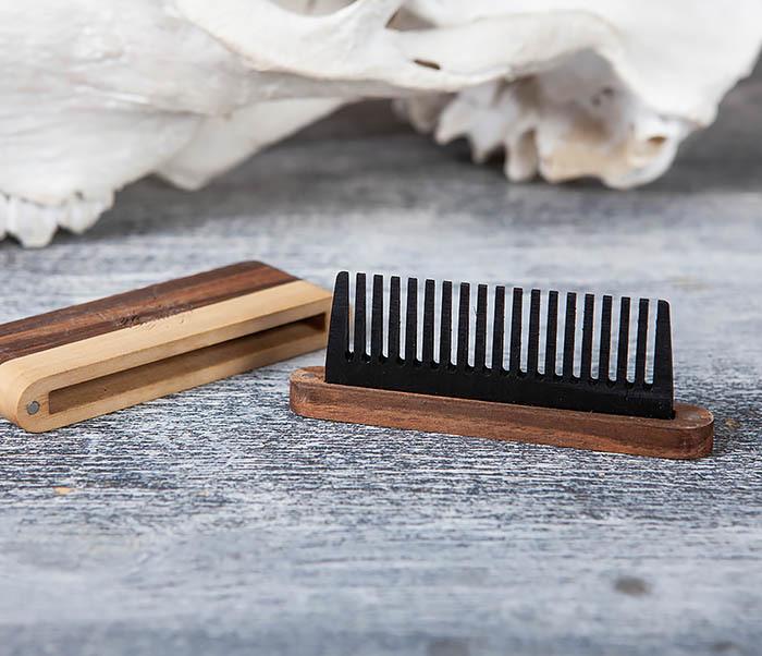 RAZ361 Гребень для бороды из дерева, ручная работа фото 04