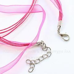 Шнур с замком и цепочкой ярко-розовый (капрон + вощеный шнур) 42 см