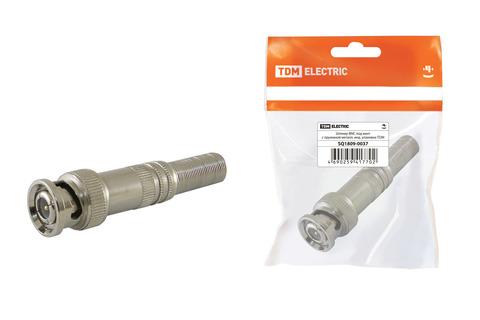 Штекер BNC под винт с пружиной металл, инд. упаковка TDM