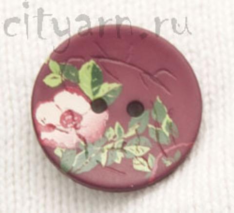Пуговица с цветком шиповника, бордовая, 23 мм