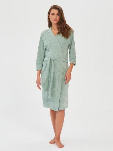Комплект в роддом (сорочка+халат Вельвет) Зеленый гранит