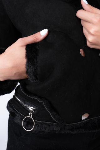 Дубленка черная короткая женская отпом