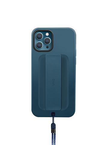 Чехол Uniq HELDRO для iPhone 12/12 Pro | держатель + шнурок анти-микробное покрытие синий