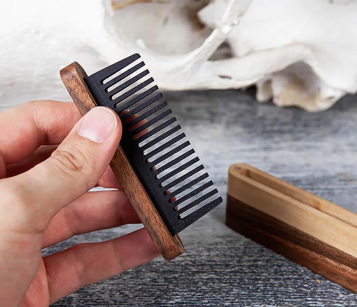 RAZ361 Гребень для бороды из дерева, ручная работа фото 06