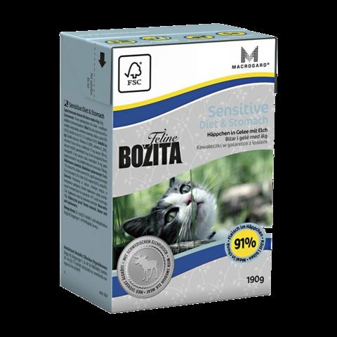 Bozita Tetra Pak Funktion Sensitive Diet & Stomach Консервы для кошек с чувствительным пищеварением с лосем (кусочки в желе)