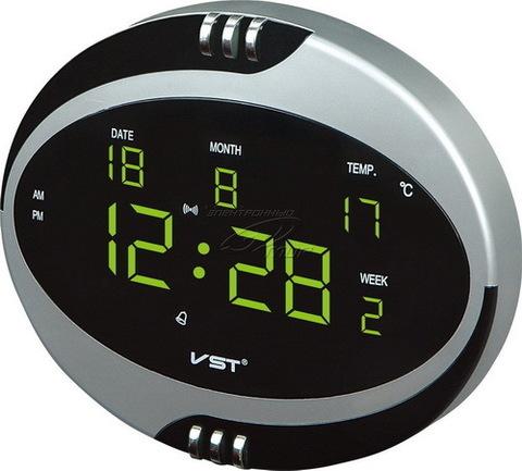 Часы сетевые VST-770T-4 салатовые, пульт ДУ