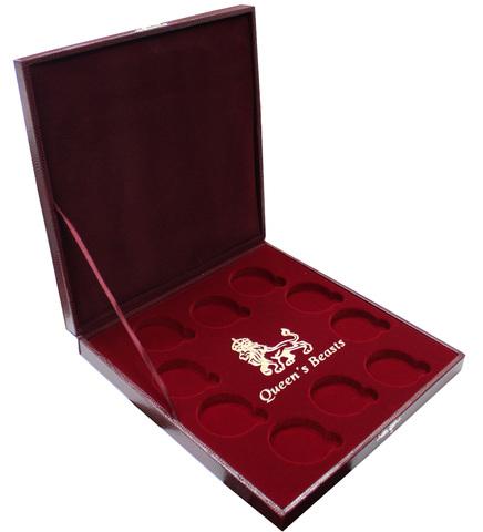"""Футляр на 10 ячеек для  монет Звери Королевы (Великобритания) """"Queen Beasts"""" (бордо). (Пустой)"""