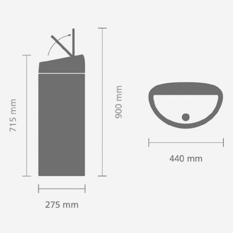 Мусорный бак Brabantia Touch Bin (40л), Матовый черный/крышка матовая с защитой от отпечатков пальцев, арт. 378768 - фото 1