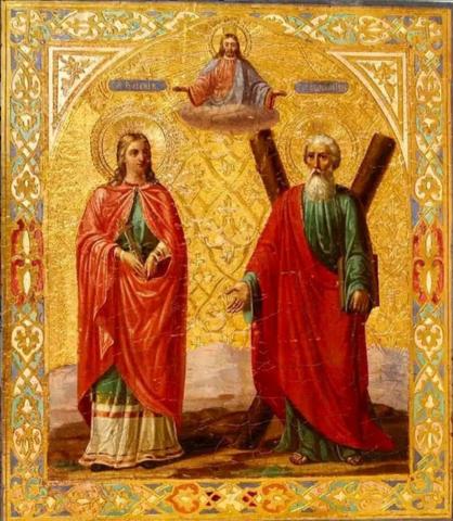 Икона святая Иулиания и Апостол Андрей на дереве на левкасе мастерская Иконный Дом