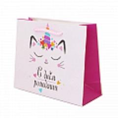 Пакет подарочный, С Днем Рождения. Кошечка, 12*5,5*15 см, 1 шт.
