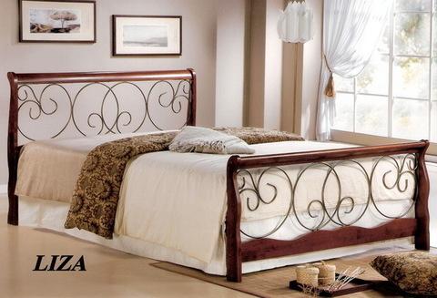 Кровать ЛИЗА двуспальная деревянная 160х200 темный орех
