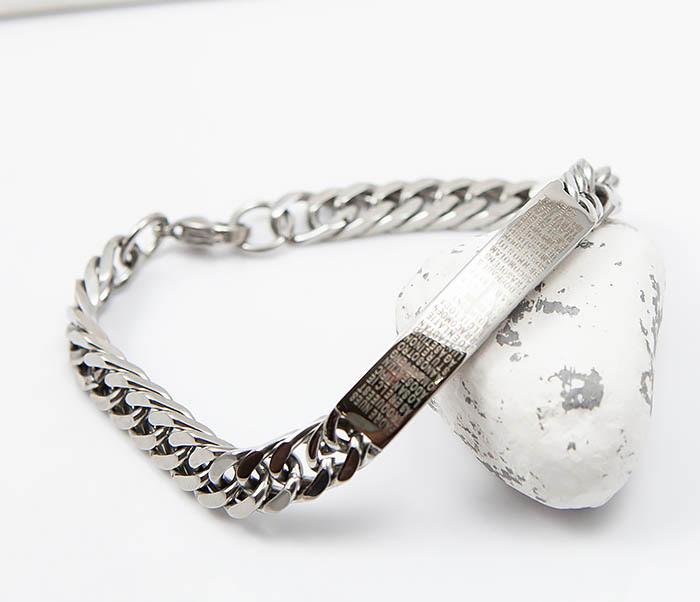 BM504-1 Мужской браслет из стали с крестом и молитвой (20 см) фото 04