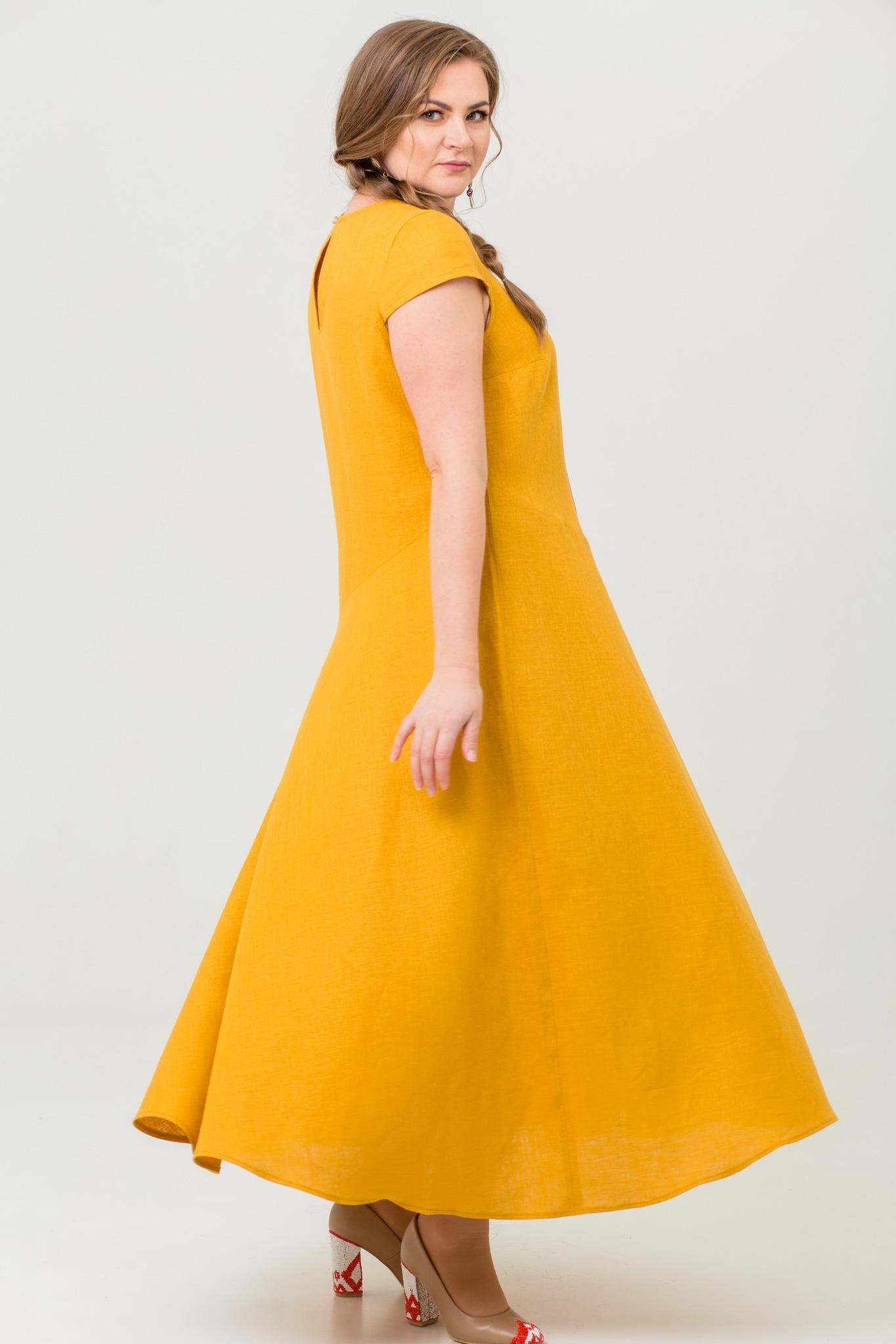 Платье льняное Птица счастья с юбкой-полусолнце