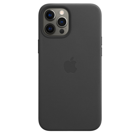 Apple Leather Case на iPhone 12 Pro Max (Черный)