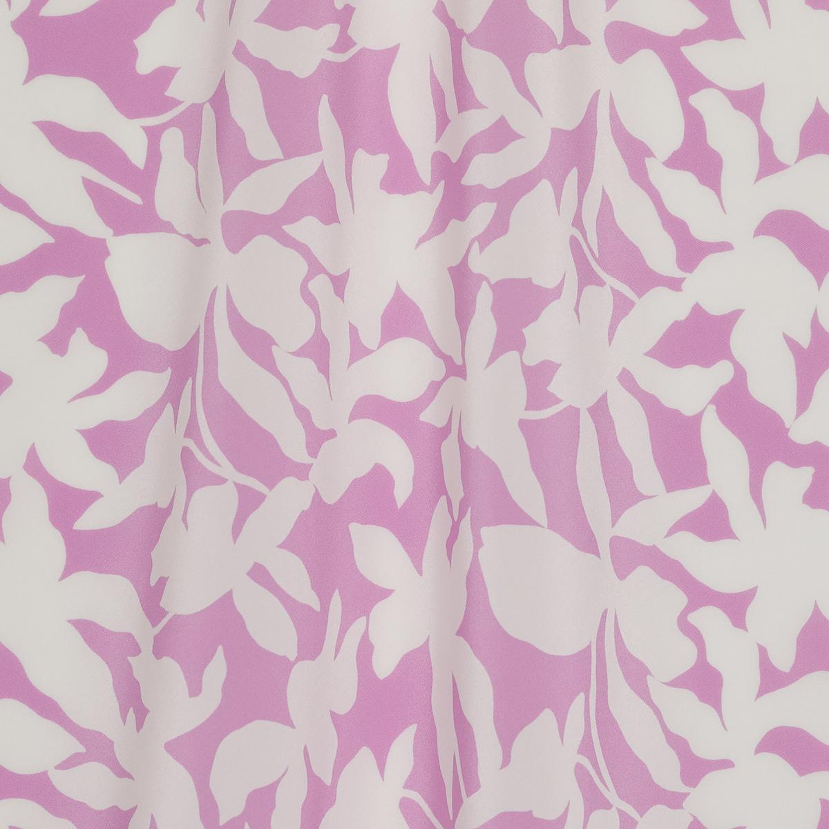 Шёлковый крепдешин с абстрактными силуэтами цветов