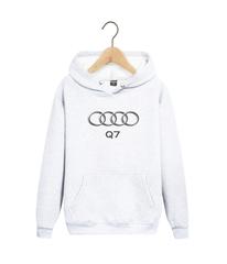 Толстовка белая с капюшоном (худи, кенгуру) и принтом Ауди Q7 (Audi Q7) 005