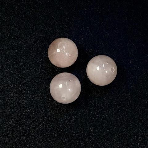 Бусина полупросверленная кварц розовый шар гладкий 10,3 мм 1 шт