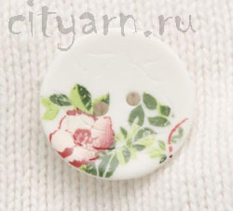 Пуговица с цветком шиповника, белая, 20 мм