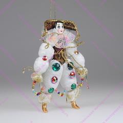 Ёлочная игрушка Клоун белый со стразами